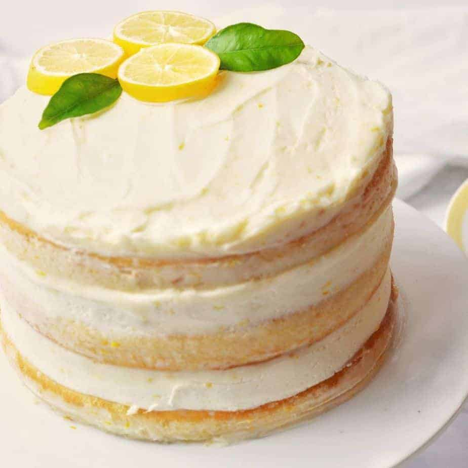 3 layer cake with white cake and lemon filling
