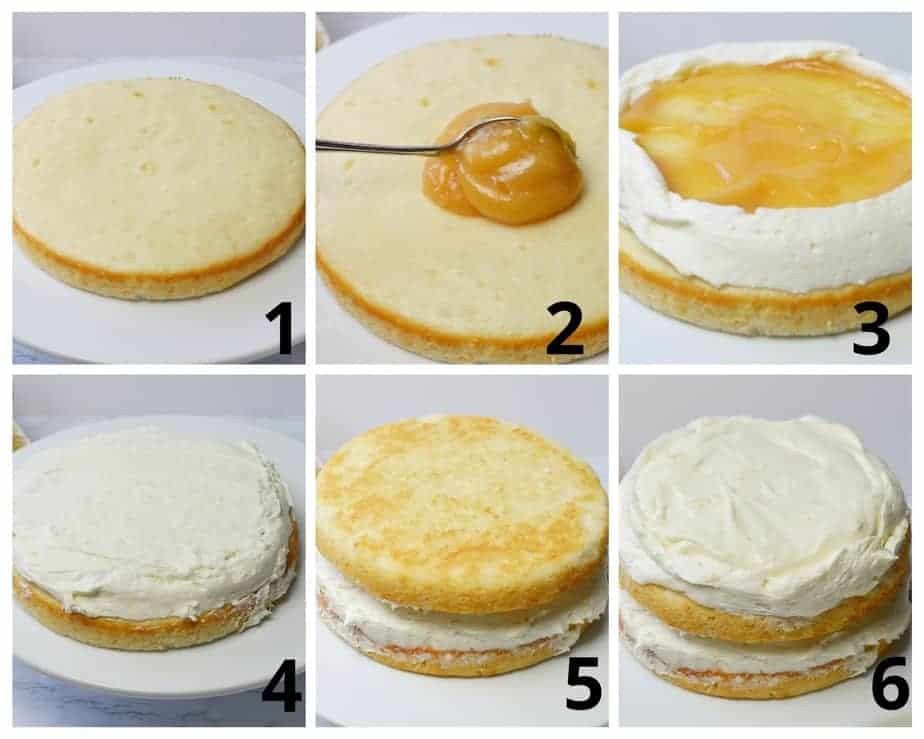 6 pictures showing how to assemble lemon cheesecake cake