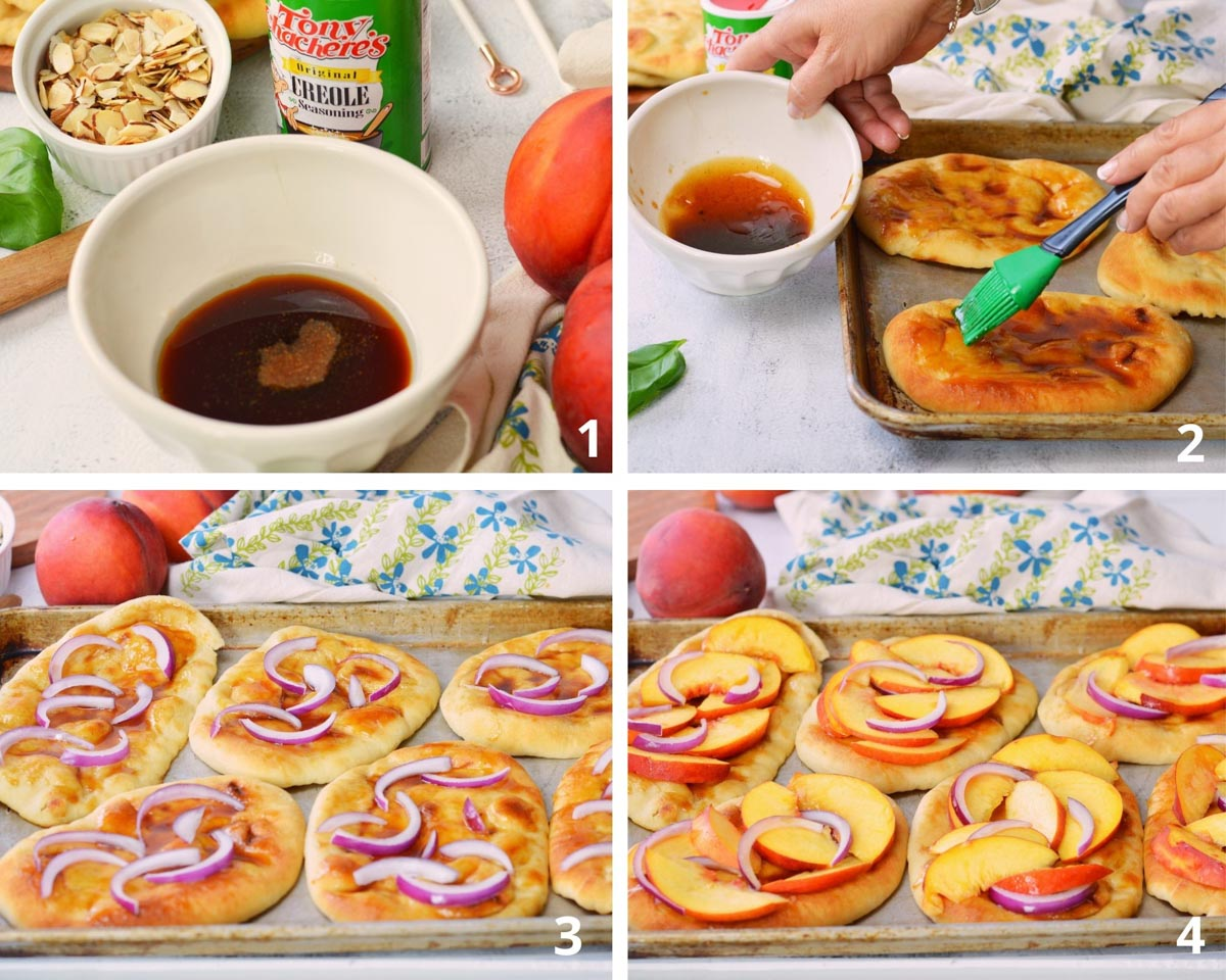 4 pictures in a box: bowl of honey balsamic glaze, brushing glaze on flatbread, onions on flat bread and peaches and onions on 4 individual flatbreads.