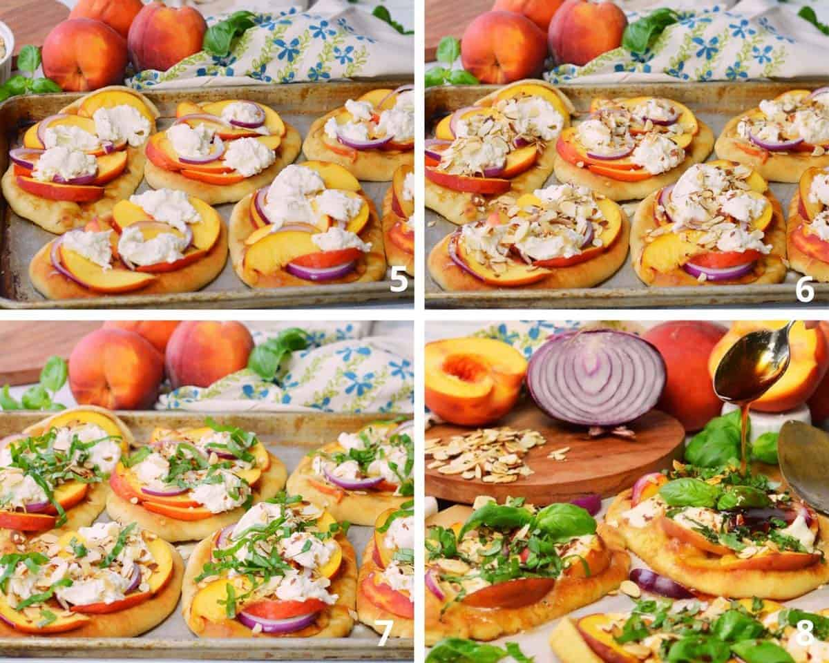 Process for  making burrata, onion, almond, basi and peach pizzas on naan bread.