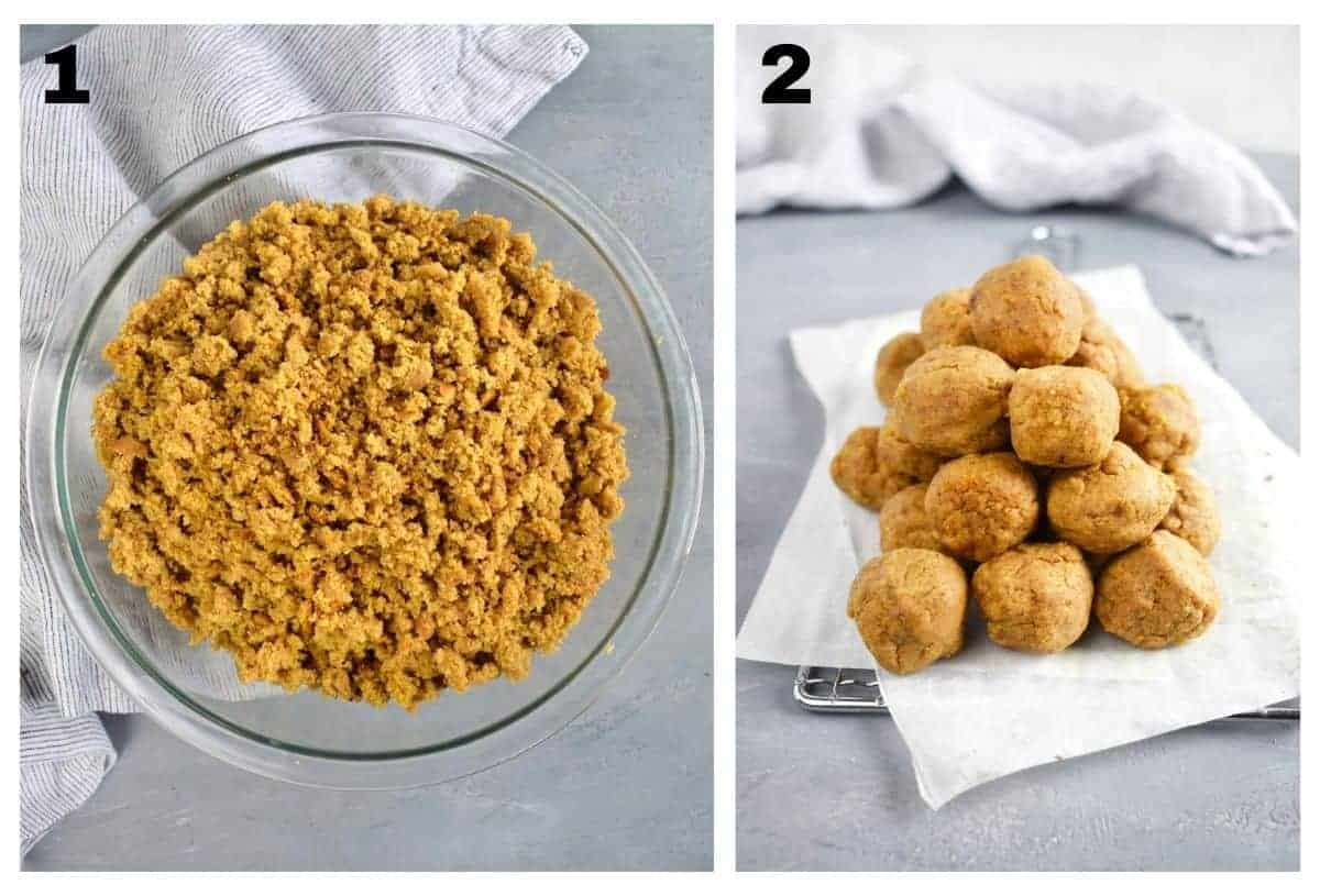 two images showing cake ball dough and cake ball dough formed into balls.
