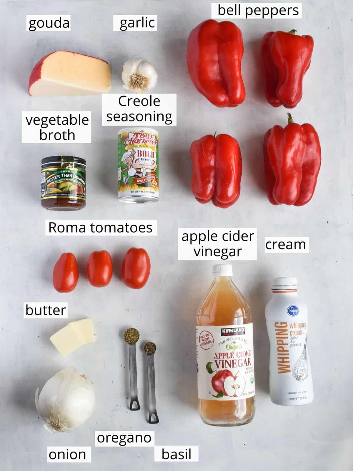 ingredients laid out with titles below each item.