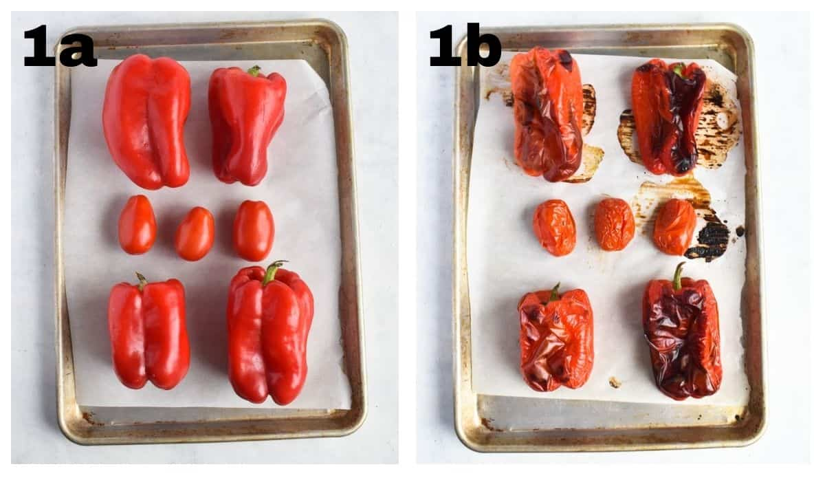 two images showing unroasted peppers and tomatoes on baking sheet and then roasted.