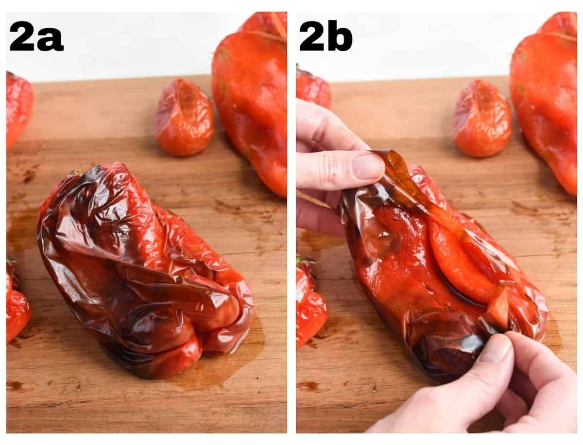 two images showing how to remove the skins from the peppers.