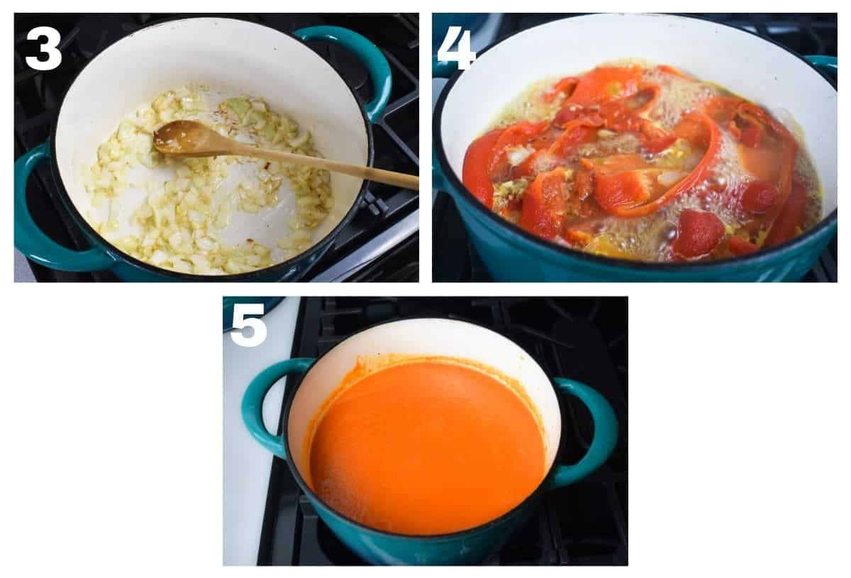 3 images showing how to make the soup.