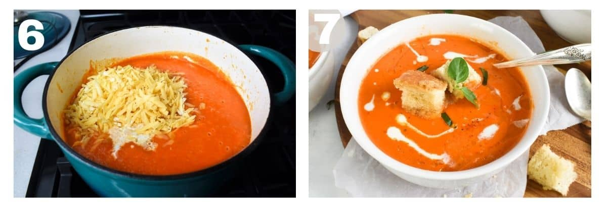 two images showing how to finish the soup and serve it.